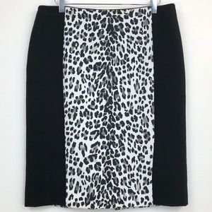 WHBM Leopard Print Panel Pencil Skirt Lined